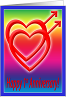 1st Anniversary Hearts in Love, Gay card