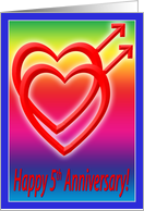 5th Anniversary Hearts in Love, Gay card