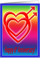 6th Anniversary Hearts in Love, Gay card