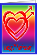 7th Anniversary Hearts in Love, Gay card