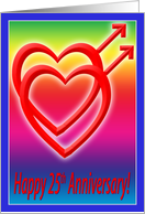 25th Anniversary Hearts in Love, Gay card