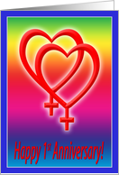 1st Anniversary Hearts in Love, Lesbian card
