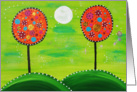 Painted dotted trees with green night sky and moon card