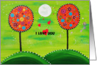 I love you- Painted dotted trees with green night sky and moon card
