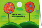 Thank you - Painted dotted trees with green night sky and moon card