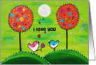 Love you friend-Painting - Night sky, 2 colorful birds giving a flower card