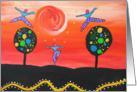 Blank Card-dancing figure,s , sunset,colorful dotted trees card