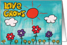 Painting - Love Grows - Colorful words & Flowers card
