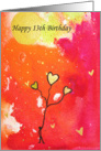 Happy 13th Birthday - Watercolor - Stick Man -Gold Balloons card