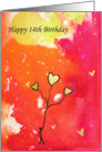 Happy 14th Birthday - Watercolor - Stick Man -Gold Balloons card
