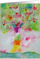 Lesbian Coming Out of the Closet- Rainbow Tree - Watercolor card
