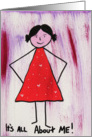Girl in red dress - Its all about me card