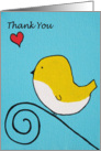 Thank you - Yellow bird on branch - painting card