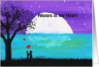 Lovers by the Ocean - Painting- Always in my Heart card
