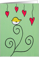 Yellow bird on Branch with red love hearts-Colorful Painting card