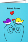 Yellow and Purple bird with Red heart flowers - Friends forever -Hand Painted card