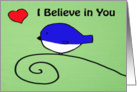Blue bird red heart - I Believe in you Hand Painted card