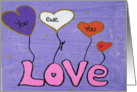 Hand Painted -Heart Balloons- Love ewe, you, u card