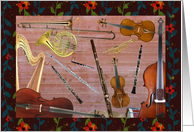 Orchestra Instruments, Flower Frame, Any Occasion card