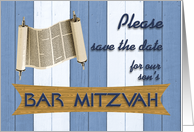 Son's Bar Mitzvah, Invitation, Save the Date card