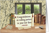 Law Firm Partner Congratulations, Vintage Office card