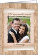 Wedding Invitation, Photo in Flowered Scroll card