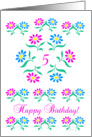 pink and blue flowers, happy 5th birthday card