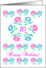 pink and blue flowers, happy 10th birthday card