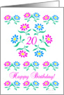 pink and blue flowers, happy 20th birthday card