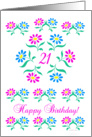 pink and blue flowers, happy 21st birthday card