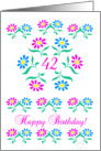 pink and blue flowers, happy 42nd birthday card