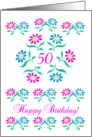 pink and blue flowers, happy 50th birthday card