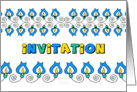 yellow and blue flowers, decorated general invitation card