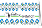 yellow and blue bellflowers, decorated wedding invitation card