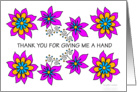 thank you for giving me a hand, pink floral card