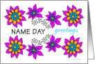 pink floral name day greetings card