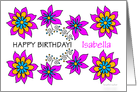 isabella, pink floral personalized name birthday card