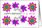 pink floral happy birthday to niece card