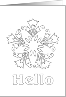 coloring book card with slovenian decorative floral motif card