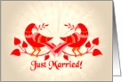 birds in love, just married card
