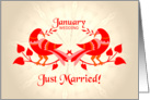 january wedding, birds in love, just married card