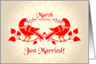 march wedding, birds in love, just married card