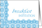 blue lace business breakfast invitation card