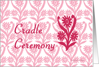 cradle ceremony, floral ornamental design card