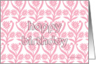 pink sunflowers pattern in ornamental style, happy birthday for her card