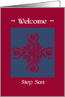 step son welcome to the family, big floral hug, ornamental style card