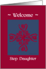step daughter welcome to the family, big floral hug, ornamental style card