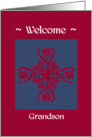 grandson welcome to the family, big floral hug, ornamental style card