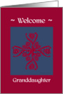 granddaughter welcome to the family, big floral hug, ornamental style card