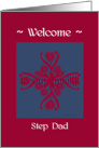 step dad welcome to the family, big floral hug, ornamental style card